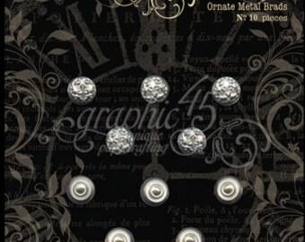 Sale-Graphic 45 Shabby Chic Ornate Metal Brads