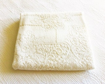 Vintage Shabby Chic Heirloom White Rose Lace Table Linen, Cottage Home, Olives and Doves