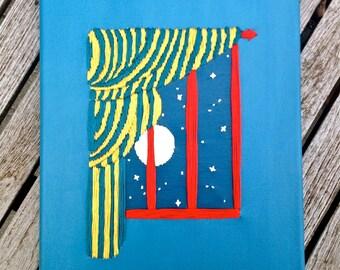 Goodnight Moon Nursery Book Art Stitched on Canvas Custom Made