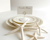 DIY Kit - 6 Pure White Sand Dollar Place Card Holders with 6 Wire Holders  - Ready-to-Go