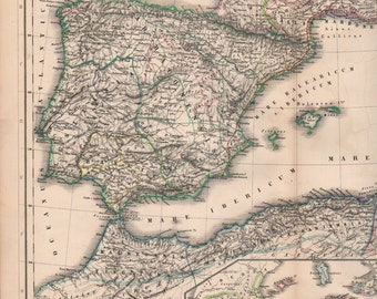 1800s Map of Spain, Antique Atlas of Ancient Spain, Hand Colored Maps, North Africa German Map, Latin Atlases Kiepert