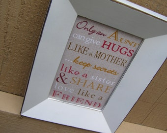 Aunt Gift. Only an Aunt can give Hugs Poem. Print and Pop into any frame. DIY Instant Download Print from Home. Mother's Day Gift for Aunt