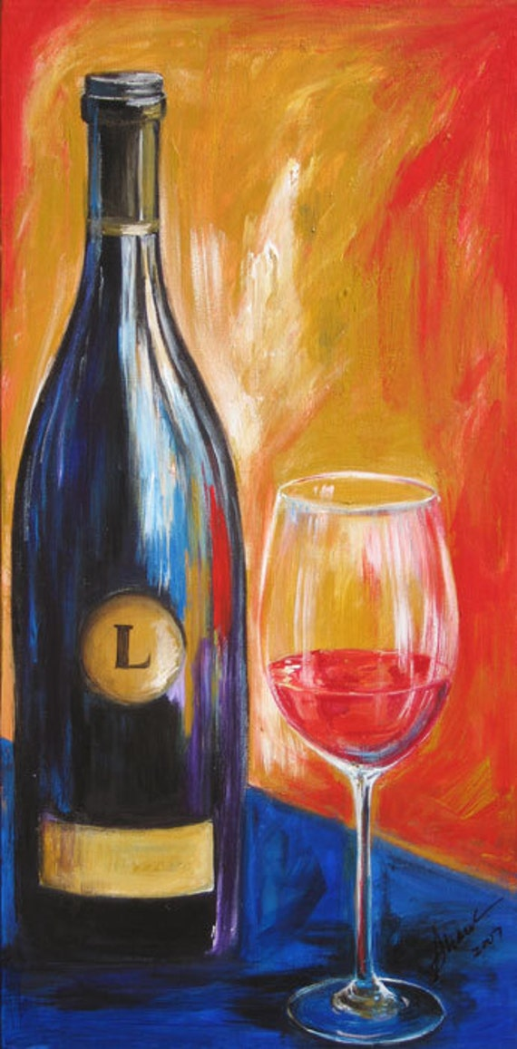 Wine painting wine bottle and wine glass art limited edition for Can acrylic paint be used on glass bottles