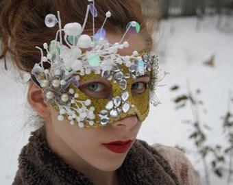 Gold Masquerade Mask masquerade ball mask gold mardi gras mask white gold venetian mask fairy mask carnival mask halloween mask ESMEE