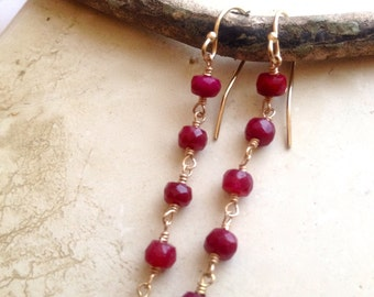 Genuine Ruby Earrings , Ruby Gemstone Dangles , July Birthstone , Red dangles