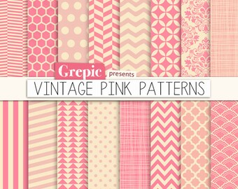 "Pink digital paper: ""VINTAGE PINK PATTERNS"" pink backgrounds w/ chevron, polkadots, honeycomb, stripes, geometric, quatrefoil, cross hatch.."