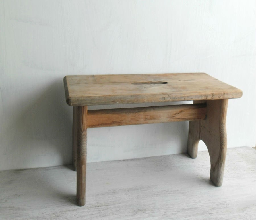 Wooden Footstool Vintage Italian Shabby Country Old From