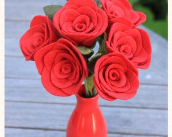 6 Felt Roses - Any Color, With Sweet Vase
