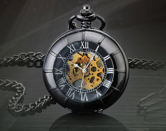 Personalized Men Vintage Pocket Watch Mechanical Hand Wind Skeleton Watch Steampunk watch; Gift for Him,Anniversary,Weddings, Groomsman W#32