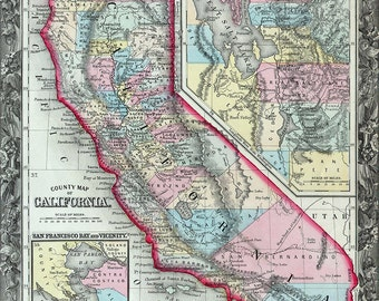 California map (1860), download california map, california state map, digital california map, california map download  item no 130