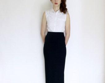 90s Dark grey long stitch skirt mesh merinos wool acrylic minimalist