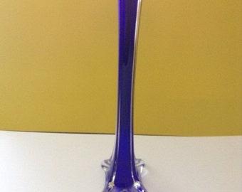 Tall Elegant Blown Glass Cobalt Blue Flower Vase