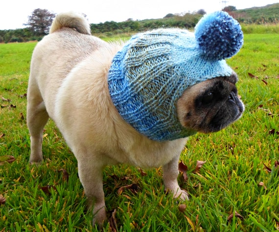 Knitted Bobble Dog Hat For Small to Medium Dog by TheSnugPug