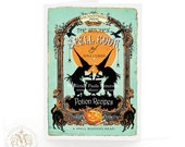 Halloween card, witch card, Halloween witch, vintage spell book, black cats, witches cauldron, silhouette, full moon, witch holiday card
