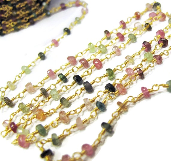 10 Feet of Tourmaline Rosary Chain, Beaded Chain, Natural Gemstones, Colorful Rondelles Hand Wrapped On Gold Plated Wire, Jewelry Supplies