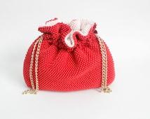 vintage 1920s red beaded evening bag / antique 20s handbag / corde red drawstring evening formal clutch purse