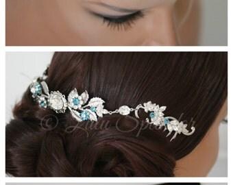 Bridal Crystal Headpiece Teal Blue Wedding Comb Leaf Hair Accessory Crystal Wedding Hair Piece Bridal Hair Jewelry CHRISTA