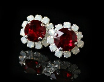 Red Swarovski Crystals Framed with Opal Halo Crystals on Silver Post Earrings