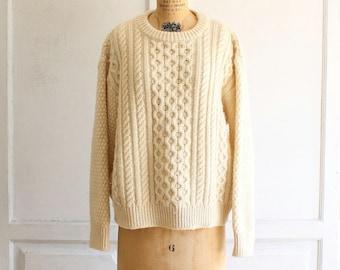 vintage wool aran fisherman sweater 70s hand knit in Ireland medium