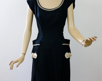 Vintage 50s Lucille Barrs Dress Black Linen Low Neckline w White Soutache Trim & Pearls
