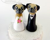 Pugs Wedding Cake Topper Figurines READY TO SHIP - by The Happy Acorn