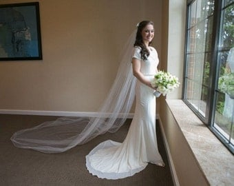 Modest Wedding Dress with Georgette and Stretch Fabrics Cowl Neckline Pippa Middleton Style