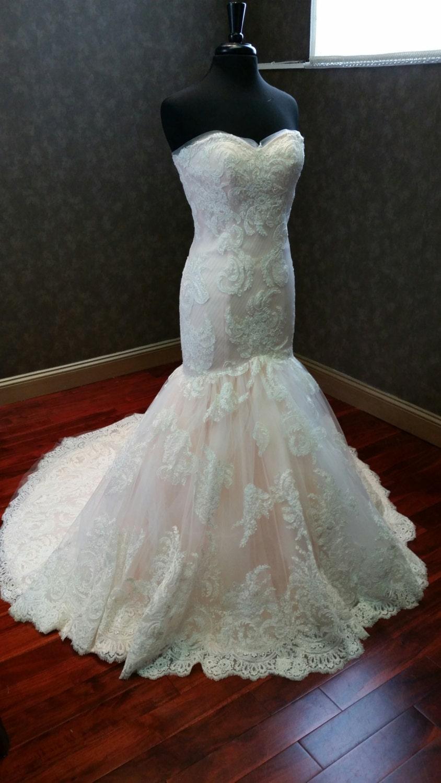 Blush And Ivory Mermaid Wedding Dress By Weddingdressfantasy