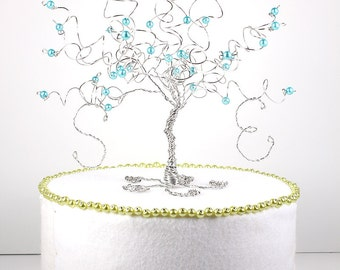 Robins Egg Blue Aqua Blue Wedding Cake Topper Wire Tree Sculpture Turquoise Pool Blue