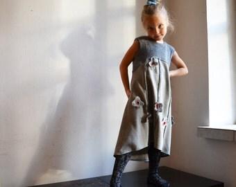 girls dress grey wool by ZOJKA, 4 - 5 years size toddler, 110 cm size, OOAK unique kids fashion, eco friendly look, embroidery flower 135