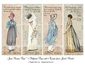 Jane Austen Four Printable Tags Vintage Regency Illustrations Quotes Collage Sheet Romantic Neutral Colors Instant Download Digital