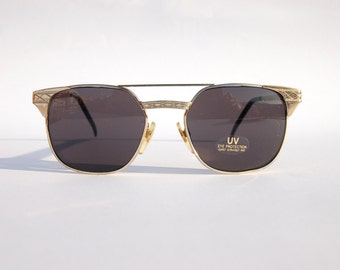 Authentic Vintage 90s Double Bridge Sunglasses / Squared Shades w Gold Tone Frame  - NOS Dead Stock Steampunk /Grunge/Hipster