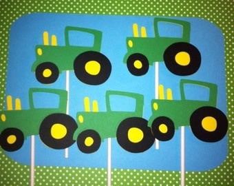 Set of 24 Tractor Cupcake Toppers, Farm Theme Party Decorations, farm  Birthday, Barnyard Birthday, Tractor Baby Shower,