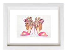 Fashion Print illustration Pink Shoes Print Beaded Shoes Illustration A4 Watercolor Print Fashion Art Fashion Heels Art Designer Shoes Print
