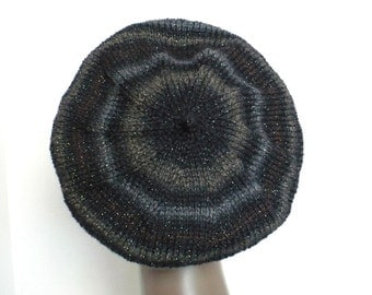 Striped Black Beret - Hand Knit Slouchy Tam, Artist Beret, Sparkly Fashion Hat, Handmade in the USA, Ready to Ship