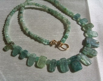 "Green kyanite set organic emeralds necklace and earrings 1.5"" 14k gold filled gemstone handmade MLMR item 616 and617"