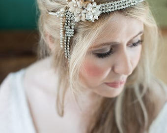 Art Deco headband, flapper bridal headpiece, forehead band, vintage headpiece