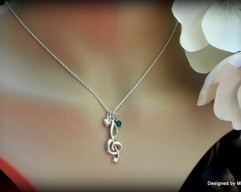 Sterling silver treble clef necklace, musician necklace, personalized music necklace, music instructor