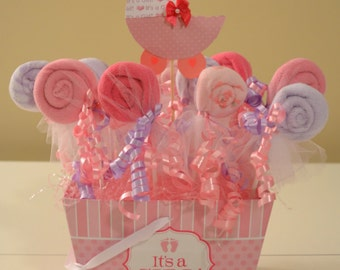 Baby Shower Centerpieces Washcloth Lollipop Favors Itu0027s A Girl Baby Shower  Made To Order Only 2