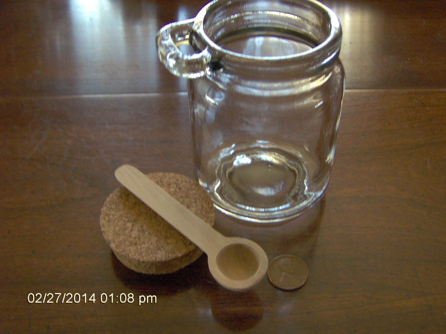 Spice Jar With Cork Lid And Spoon Kitchen Decor