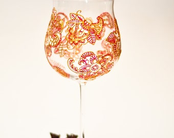 Large Wine Glasses, Hand Painted Wine Glasses, Bohemian Red Wine glass