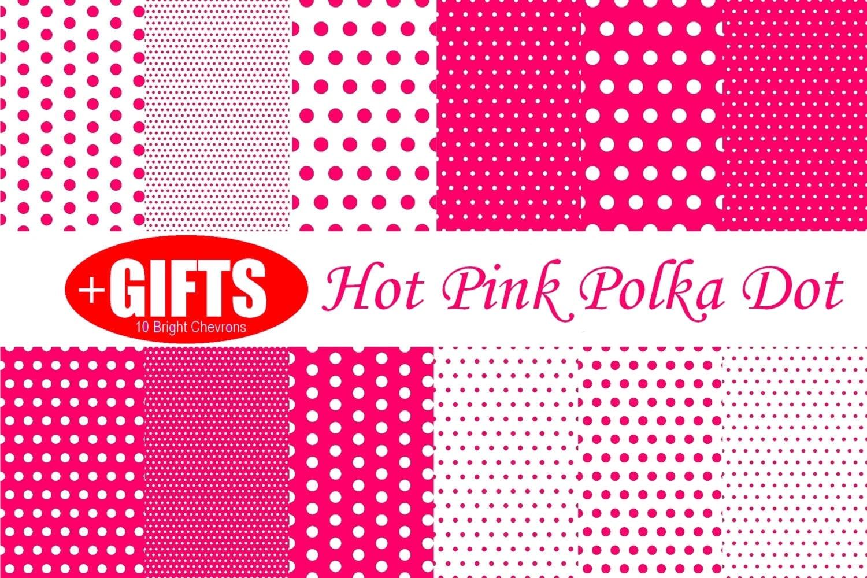 Hot pink polka dot hot pink digital paper hot pink decor pink for Pink polka dot decorations