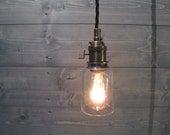 Modelo Beer Bottle Small Pendant Light - Short Clear - Upcycled Industrial Glass Ceiling Light