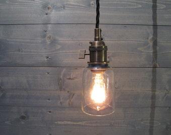 modelo beer bottle small pendant light short clear upcycled industrial glass ceiling light