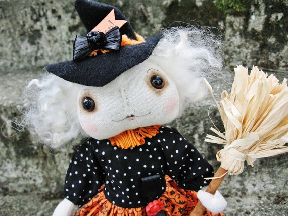 Witch Doll Halloween Folk Art Doll 'Witchy Wendy' Art Doll