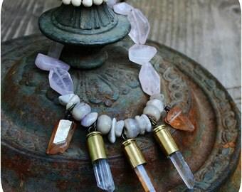 Juniper - Quartz Crystals in Bullet Shells, Rose Quartz, Soapstone and Agate Necklace
