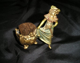 Antique Unique Lovely Figural Victorian Lady Hat/Stick Pin Cushion,Pin Holder/Brush Ornate Brass old Hollywood Regency..