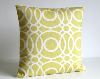 Citrus Pillow Cover, Circle Cushion Cover, Circle Pillow Sham, Trellis Pillowcase, Accent Pillow Cover - Trellis Circles Citrus
