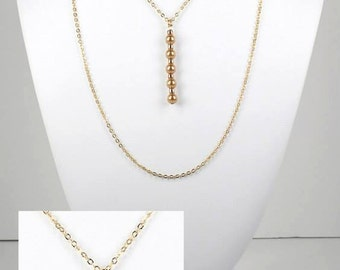 36 Inch Long Swarovski Pearl Bar Pendant Chain Necklace