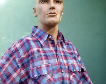 Vintage Mens Plaid Western Cowboy Shirt Dee Cee Brand Pearl Snap Buttons Metallic Blue Accent