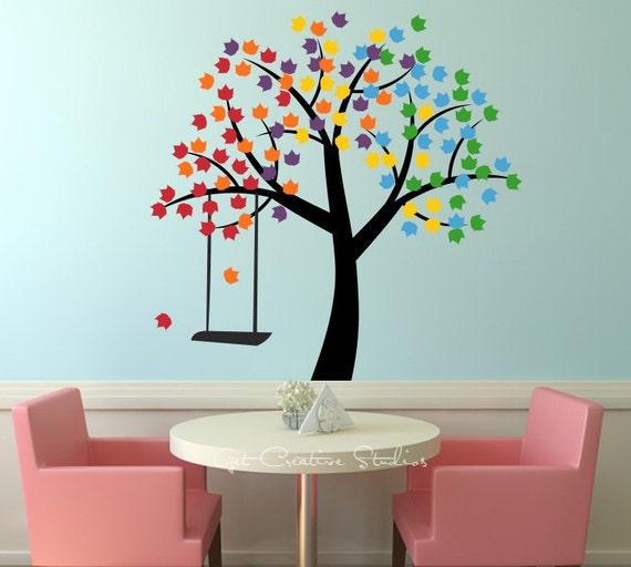 Rainbow Decal Tree Wall Sticker Spring Summer Fall Winter Rope